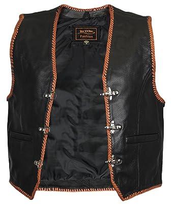 eb50cedc903 MDM Leather Vest Gilet Black/Orange - -: Amazon.co.uk: Clothing