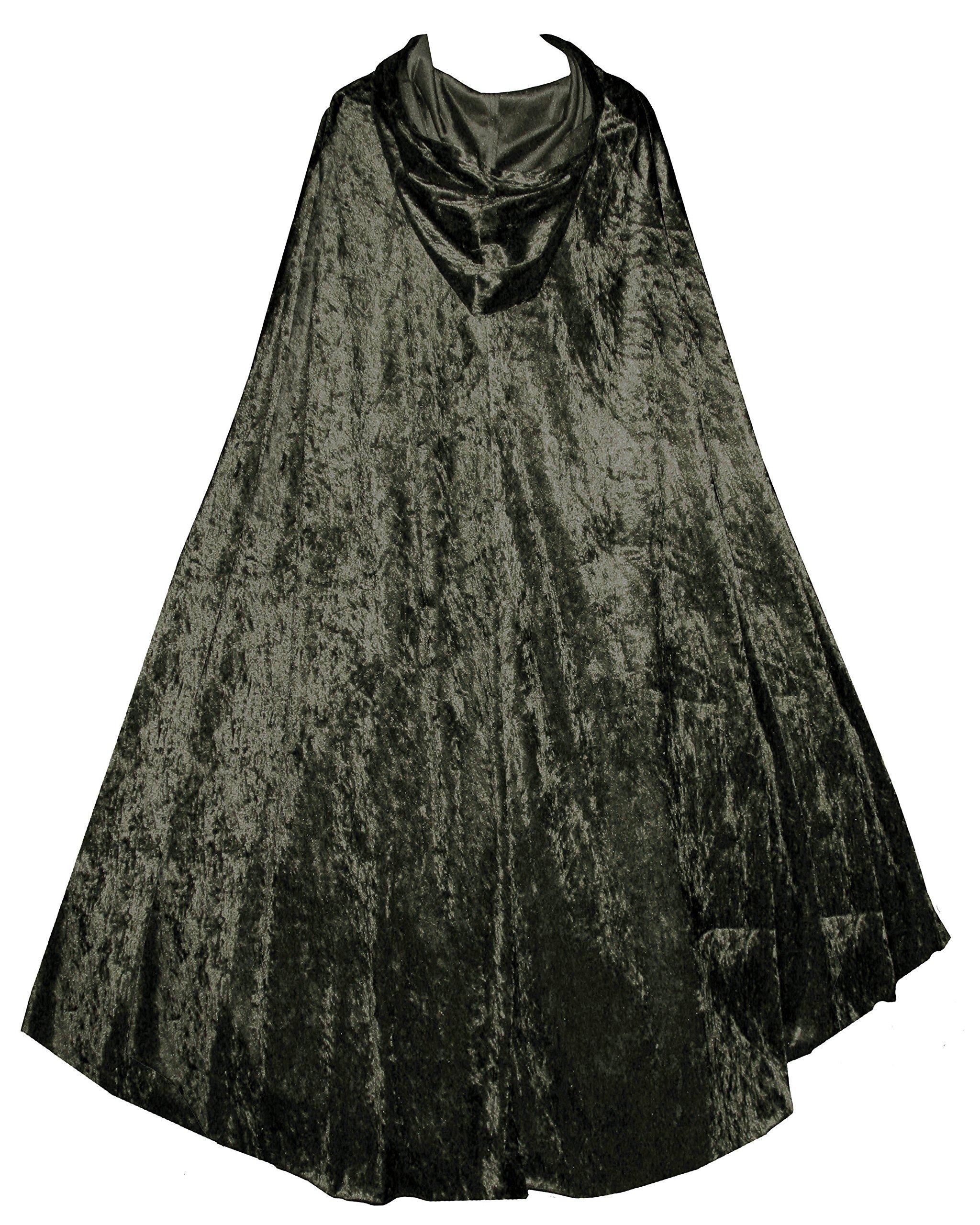 Victorian Vagabond Gothic Renaissance Steampunk Velvet Cape Cloak Olive Green 4