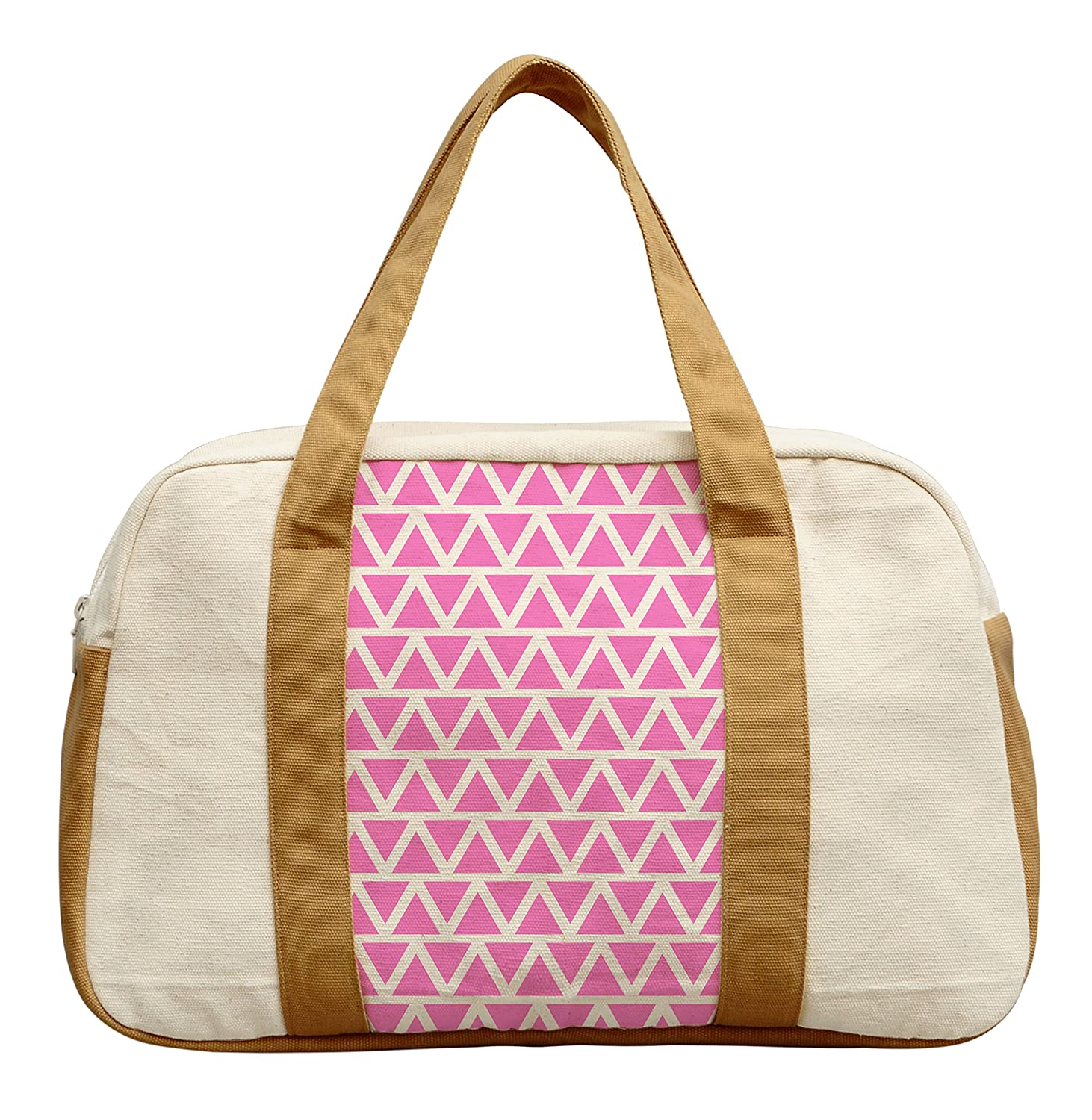 Womens Painted Pink Chevron Printed Canvas Duffel Travel Bags WAS/_19