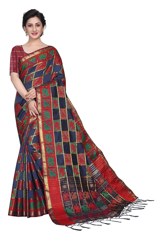 0692633a8 Silk Zone Women's Cotton Silk Blue Ikkat Patola Checks Silk Saree With  Blouse Piece: Amazon.in: Clothing & Accessories