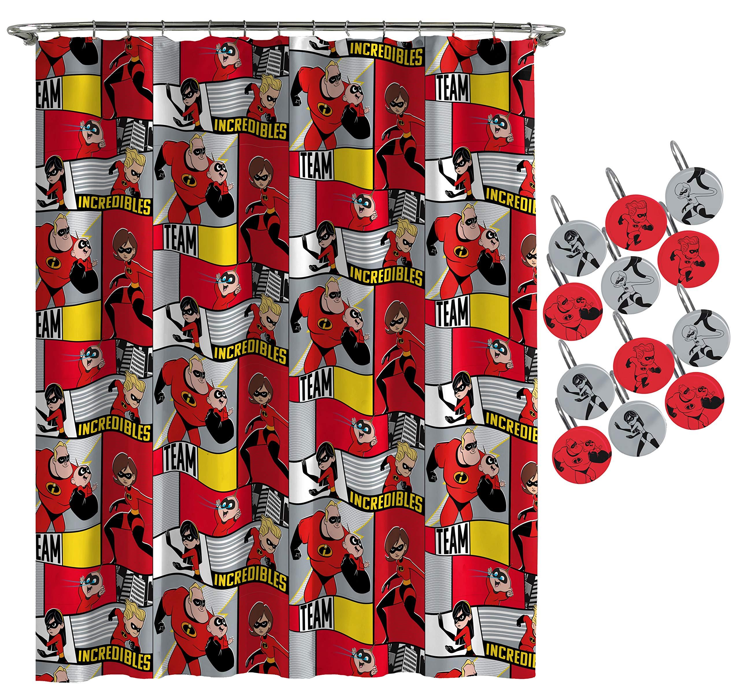 Jay Franco Disney/Pixar Incredibles Super Family Shower Curtain & 12-Piece Hook Set & Easy Use (Official Disney/Pixar Product)