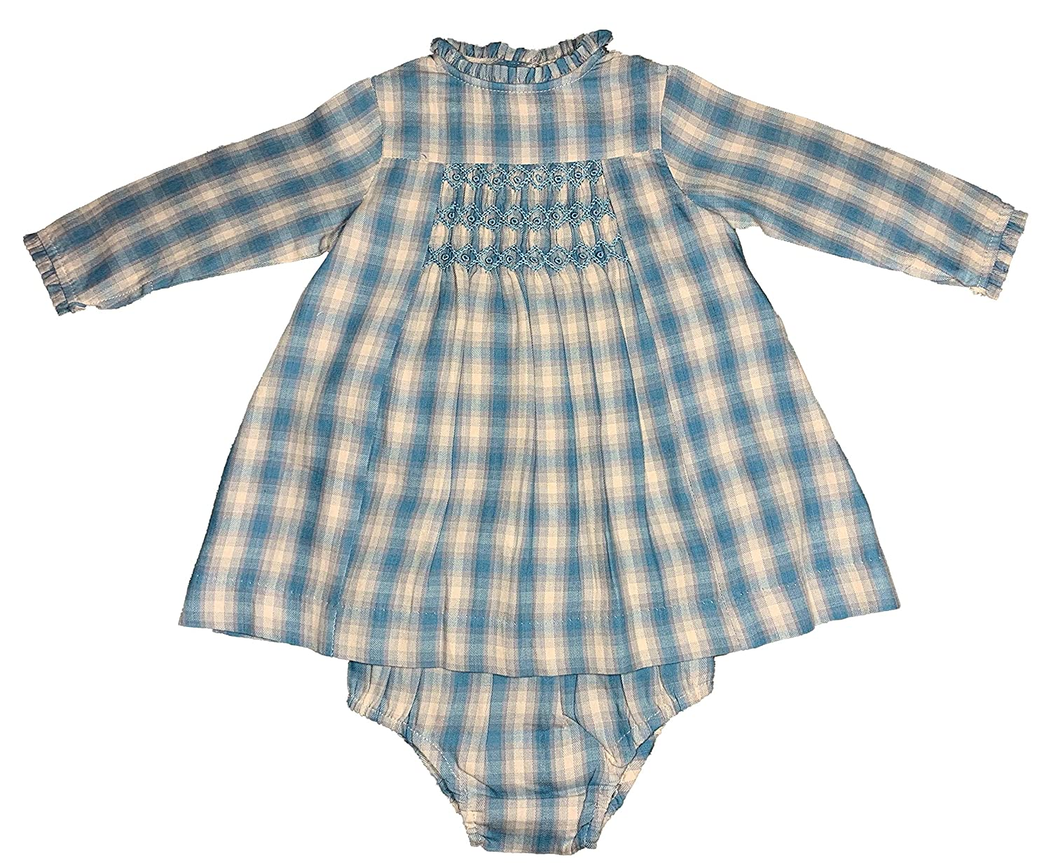 Blue//Light Gray Tartan Patricia Mendiluce Autumn-Winter Girl and Baby-Girl Hand Smoked Dress Long Sleeve