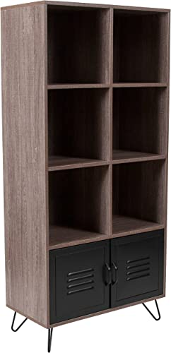 Flash Furniture Woodridge Collection 59.25 H 6 Cube Storage Organizer Bookcase with Metal Cabinet Doors and Metal Legs in Rustic Wood Grain Finish, NAN-JN-21735BF-GG