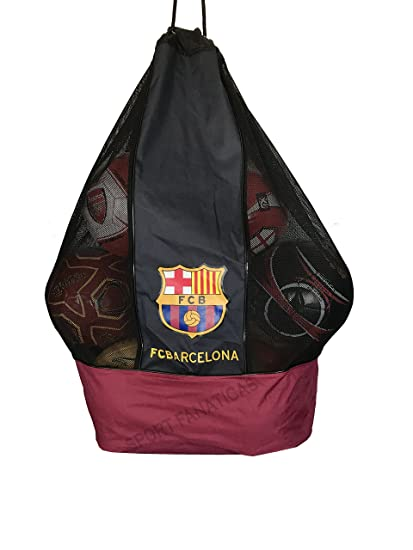 FC Barcelona Nylon Mesh Drawstring Sports Equipment Ball Bag Large Sack with Shoulder Strap for Practice