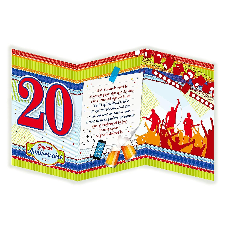 Afie 882123 A Carte 3 Volets Joyeux Anniversaire 20 Ans