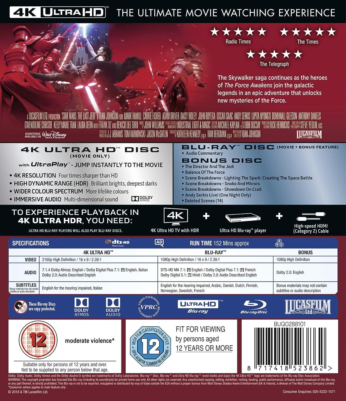 Amazon com: Star Wars: The Last Jedi [4K UHD] [Blu-ray] [2017