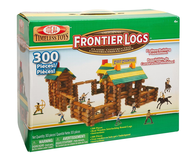 Ideal Frontier Logs 300 Piece Classic Wood Construction Set with Action Figures 300L Building Sets