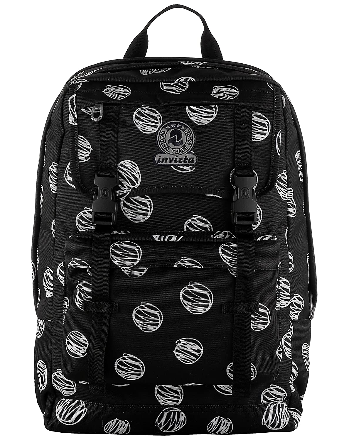 53c5ca9777 Backpack Duffy INVICTA - BRUSHED DOTS - Black - 30 Lt - Double Compartment  - Internal Laptop Sleeve - School & Leisure: Amazon.co.uk: Luggage