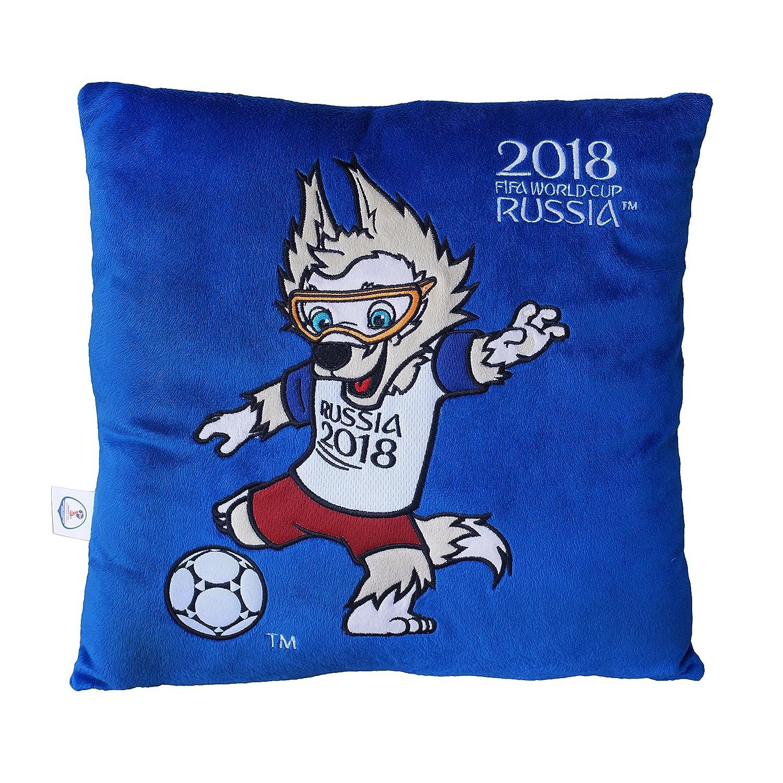 FIFA Weltmeisterschaft 2018 - Plüsch Kissen blau mit Maskottchen Zabivaka 30x30cm Kayford Holdings Ltd.