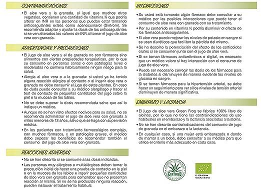 Green Frog. Jugo de Aloe Vera de Granada Bio. 100% Fresco y Natural. 1L: Amazon.es: Salud y cuidado personal