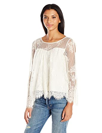 5e87df491 Taylor and Sage Women's Allover Lace Cold Shoulder Top at Amazon Women's  Clothing store:
