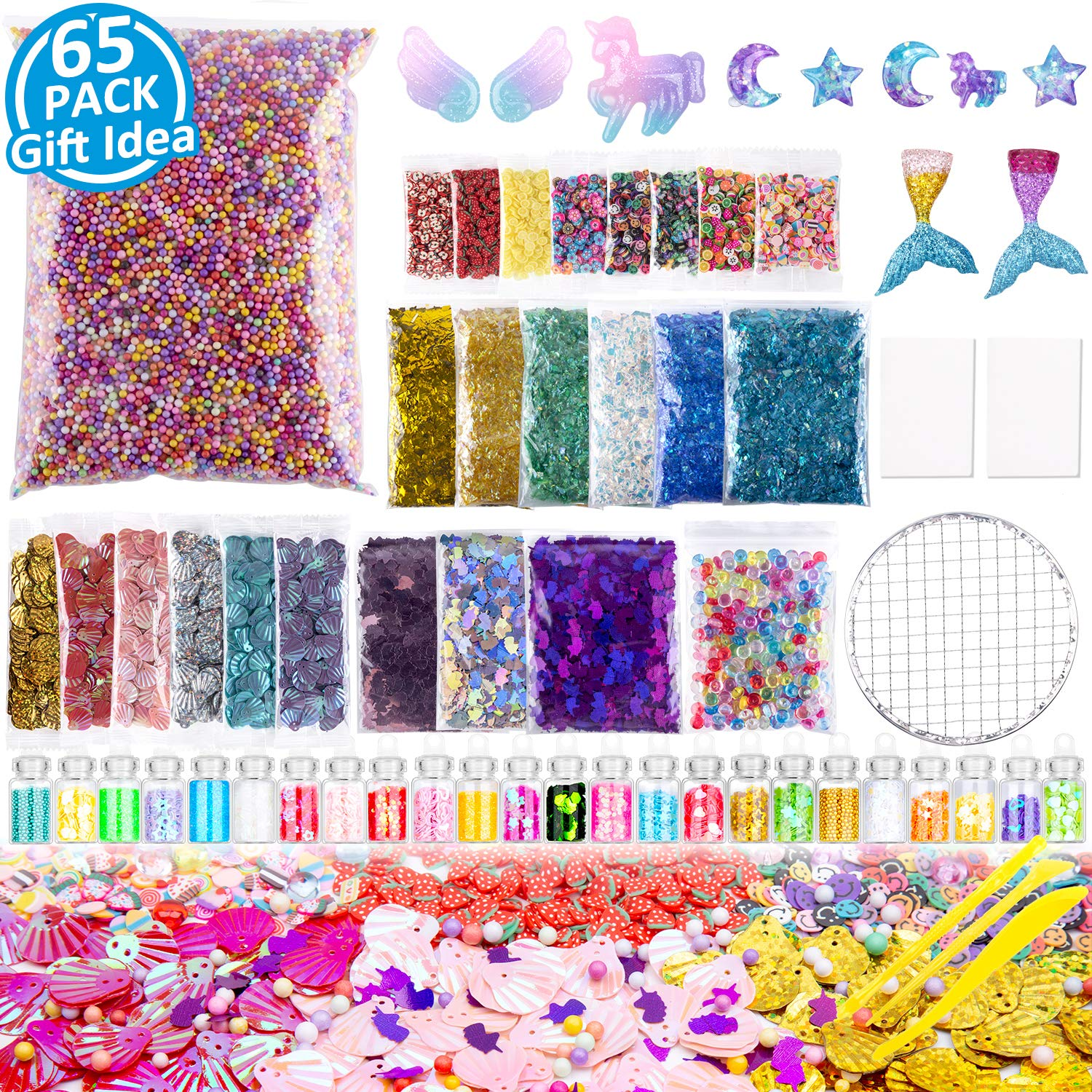 f79fea1f8bc1 Slime Supplies Kit, 65 Pack Slime Suff Charms, Include Unicorn Glitter  Shake, Unicorn Charms, Foam Balls, Fishbowl Beads, Sugar Paper, Slices,  Shell, ...