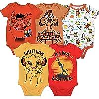 Disney Lion King Baby Boys' 5 Pack Bodysuits Simba Timon Pumbaa