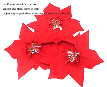 amazoncom m2cbridge pack of 24 artificial christmas flowers red poinsettia christmas tree ornaments dia 8 inch 2 dozen home kitchen - Red Christmas Flower