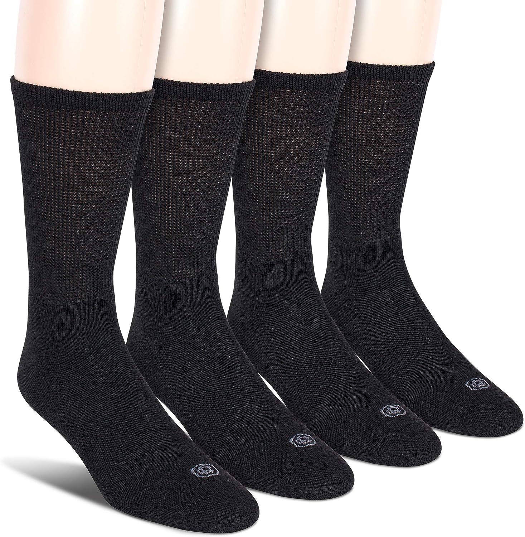 Doctor's Choice Men's Diabetic Crew Socks, Wide Non-Binding Top, Circulatory, Full Cushion, 4 Pack