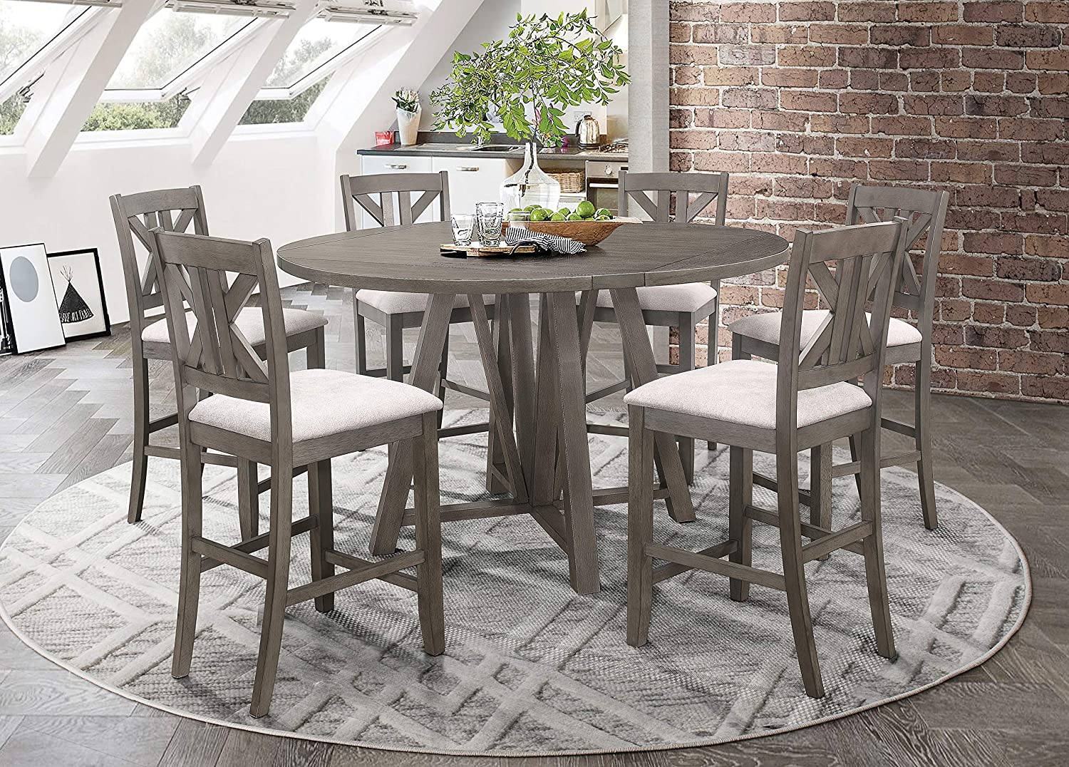 Coaster Home Furnishings Athens 7-Piece Dining Counter Height Set, Table, Barn Grey and Light tan