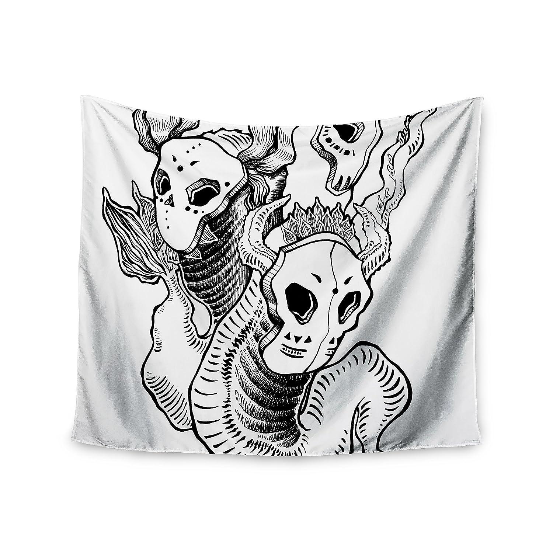 68 x 80 KESS InHouse Anya Volk Masks Black White Wall Tapestry