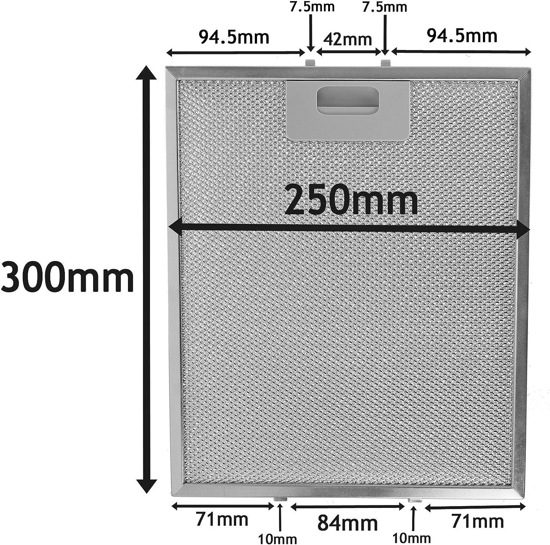 Spares2go filtre en maille m/étallique pour de dietrich hotte//ventilateur dextraction dair Grille da/ération Argent, 300/x 250/mm
