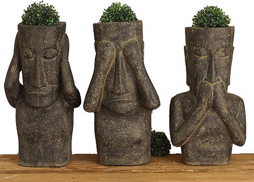 korb.outlet Juego de 3 Plantas de Cabezales en imitación de Isla de Pascua/Flores de Barro Figuras de Piedra volcánica/Esculturas para casa y jardín: Amazon.es: Juguetes y juegos