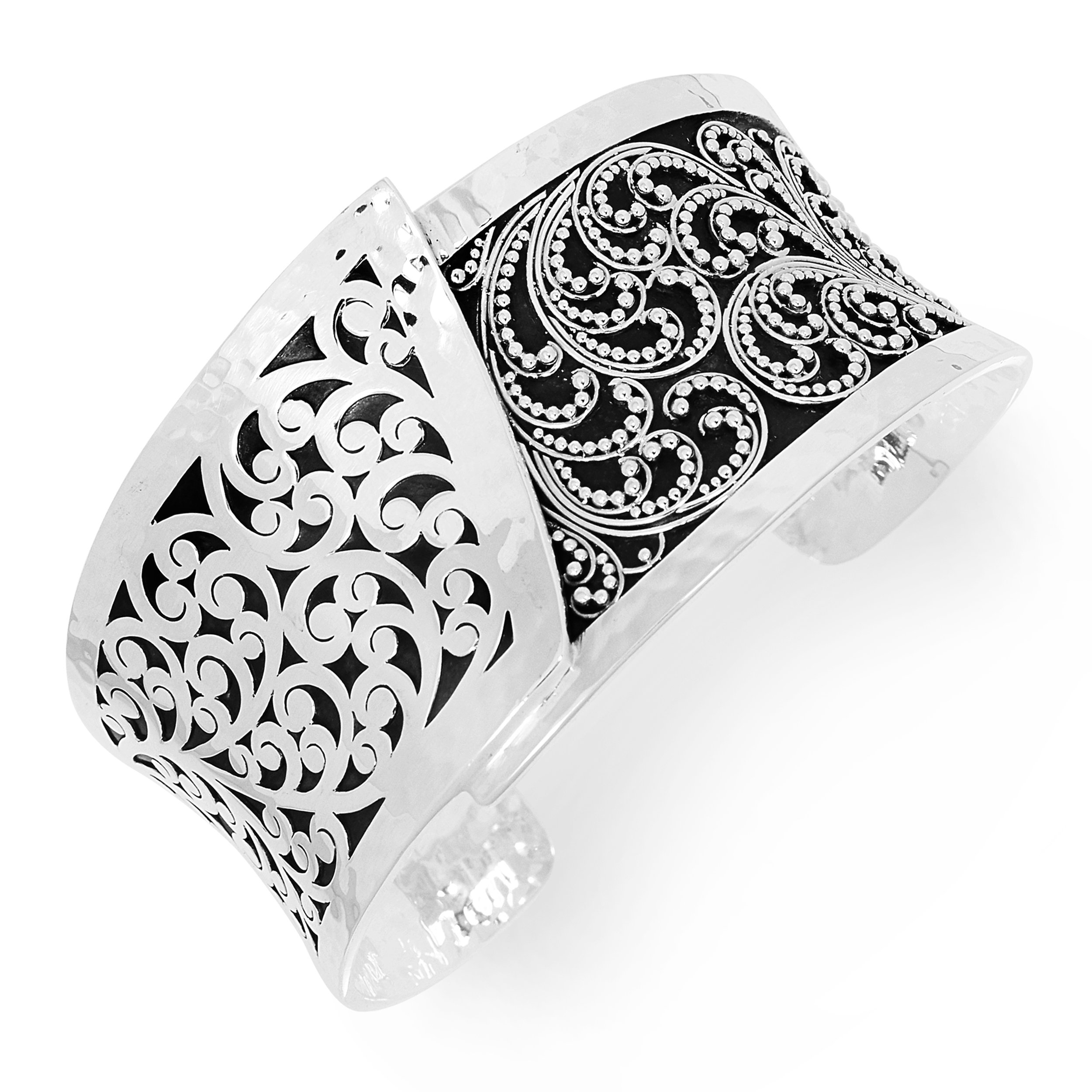 Lois Hill ''Classic'' Sterling Silver Hand Made Scroll and Granulated Design Overlap Cuff Bracelet