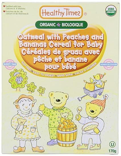 La harina de avena orgánica con los melocotones y plátano Cereal para el bebé - Healthy