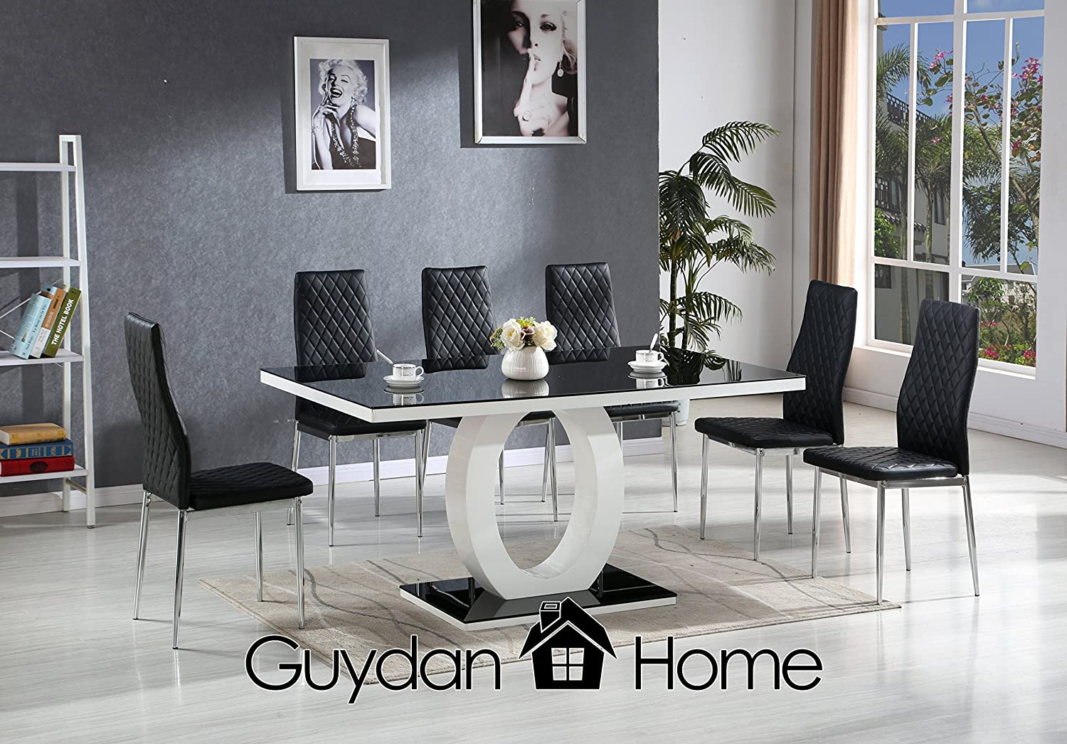 Venice Black White High Gloss Glass Dining Table Set And 6 Faux Leather Chairs Amazon Co Uk Kitchen Home