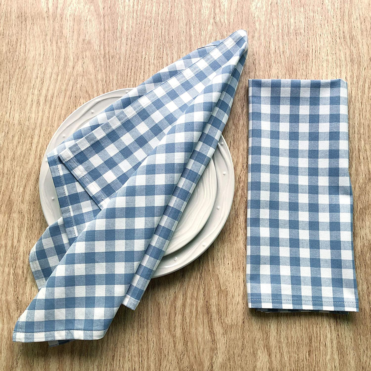 CAIT CHAPMAN HOME COLLECTION Simple Pure Cotton Soft and Absorbent Fabric Woven Dish Towels/Tea Towels, Pack of 2 (Blue Plaid)