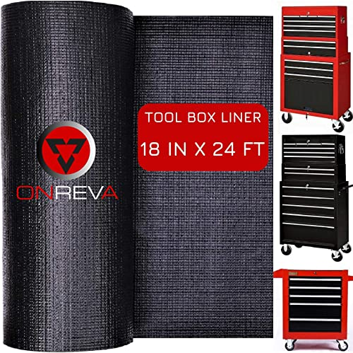 ONREVA Toolbox Drawer Liners, Professional Grade Tool Box Liner 18 inch wide x 24 ft, Rolling Tool Chest Liner Mat Roll, Nonslip Heavy Duty Perfect for Protecting Your Tools, Tool Cart with Drawers