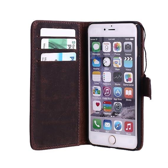 size 40 28e97 3217a Amazon.com: Leather iPhone 6/6S Wallet Case |Dark Brown| Designer ...