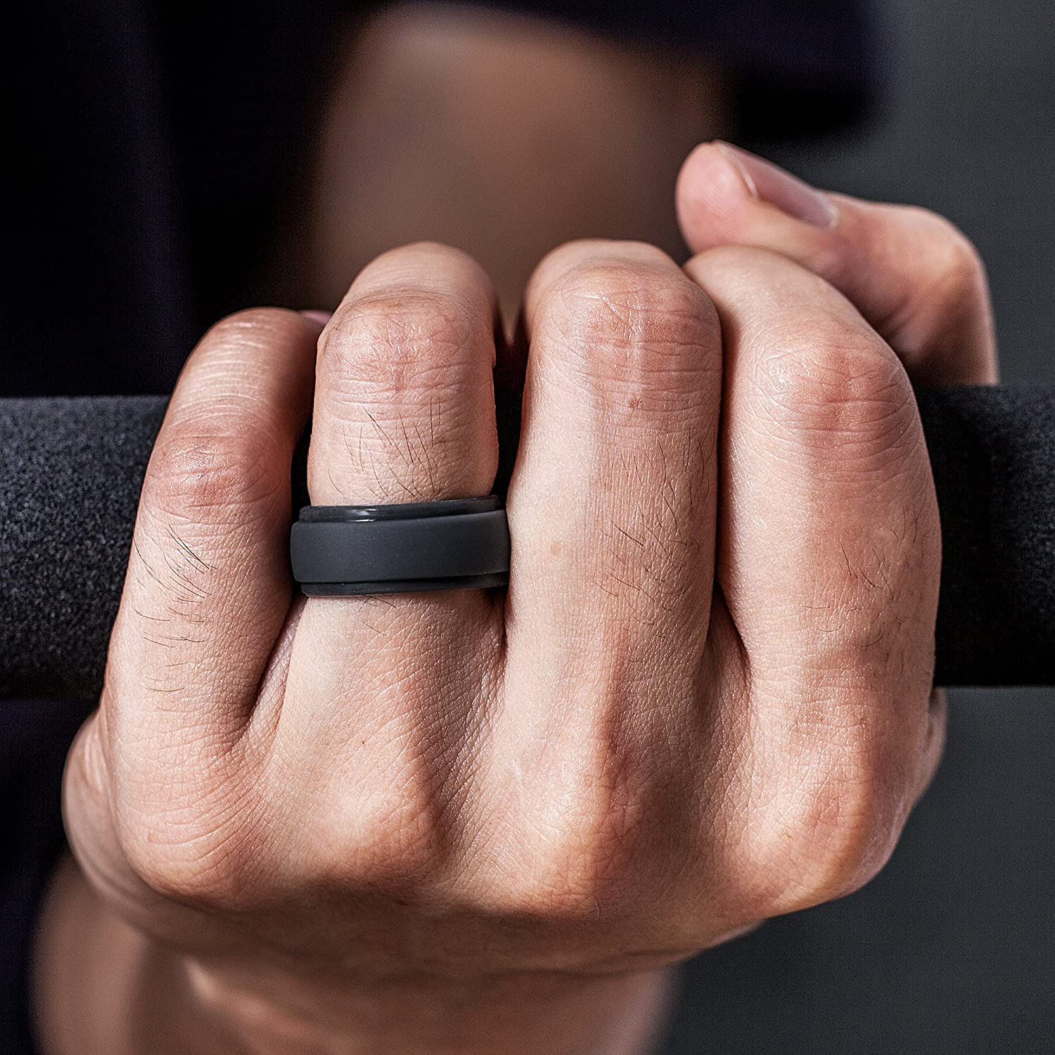2.5mm Thick 7 Rings 4 Rings 1 Ring Step Edge Rubber Wedding Bands 10mm Wide ThunderFit Silicone Rings for Men