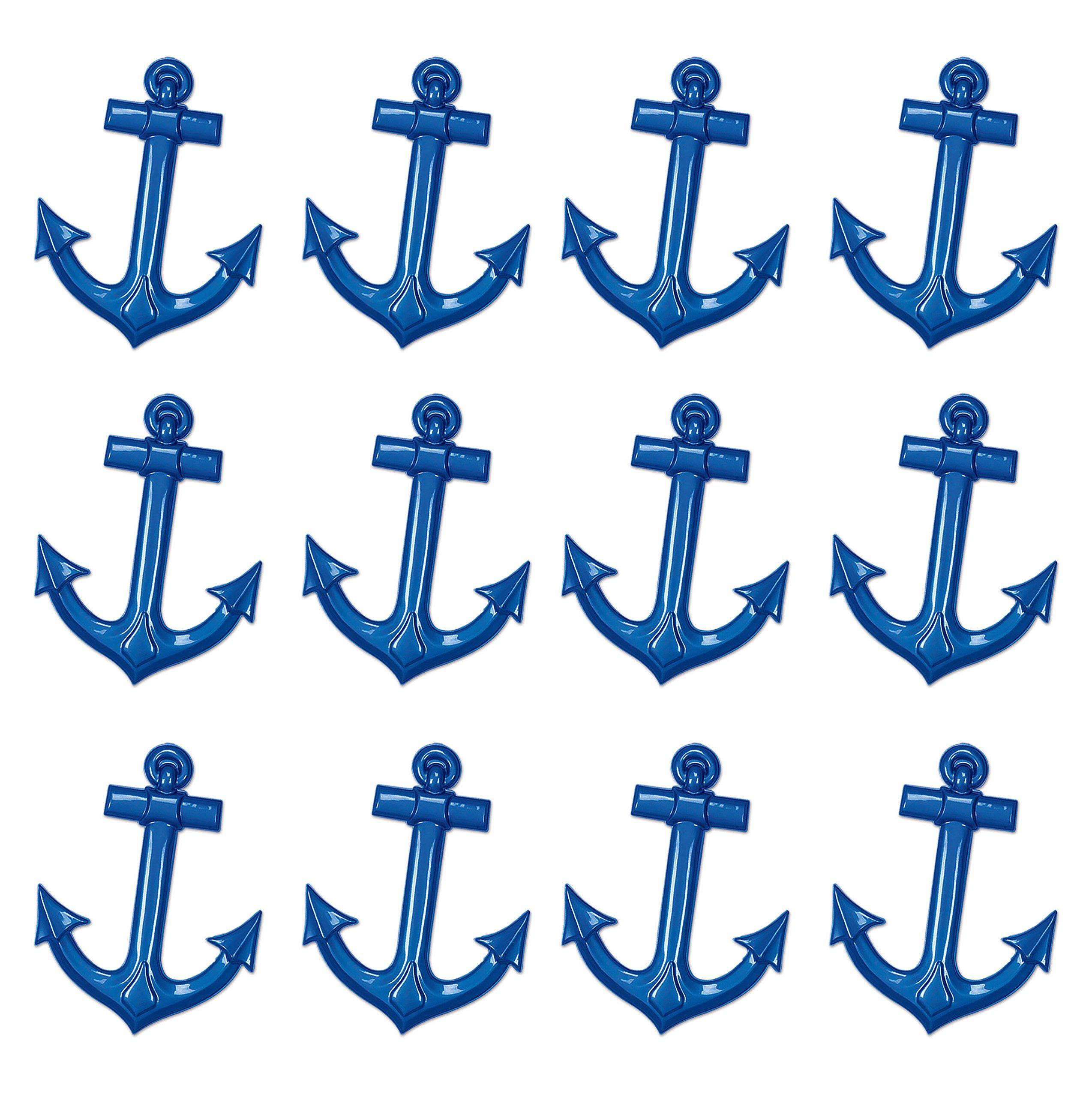 Beistle Bristle S55501-BAZ12 Plastic Ship's Anchors 12 Piece, 25'', Blue