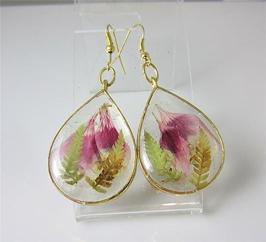 cb5ec26f7 Amazon.com: Geranium Petals, Real Flower Earrings, pressed dried flowers in  resin (az20040: Handmade