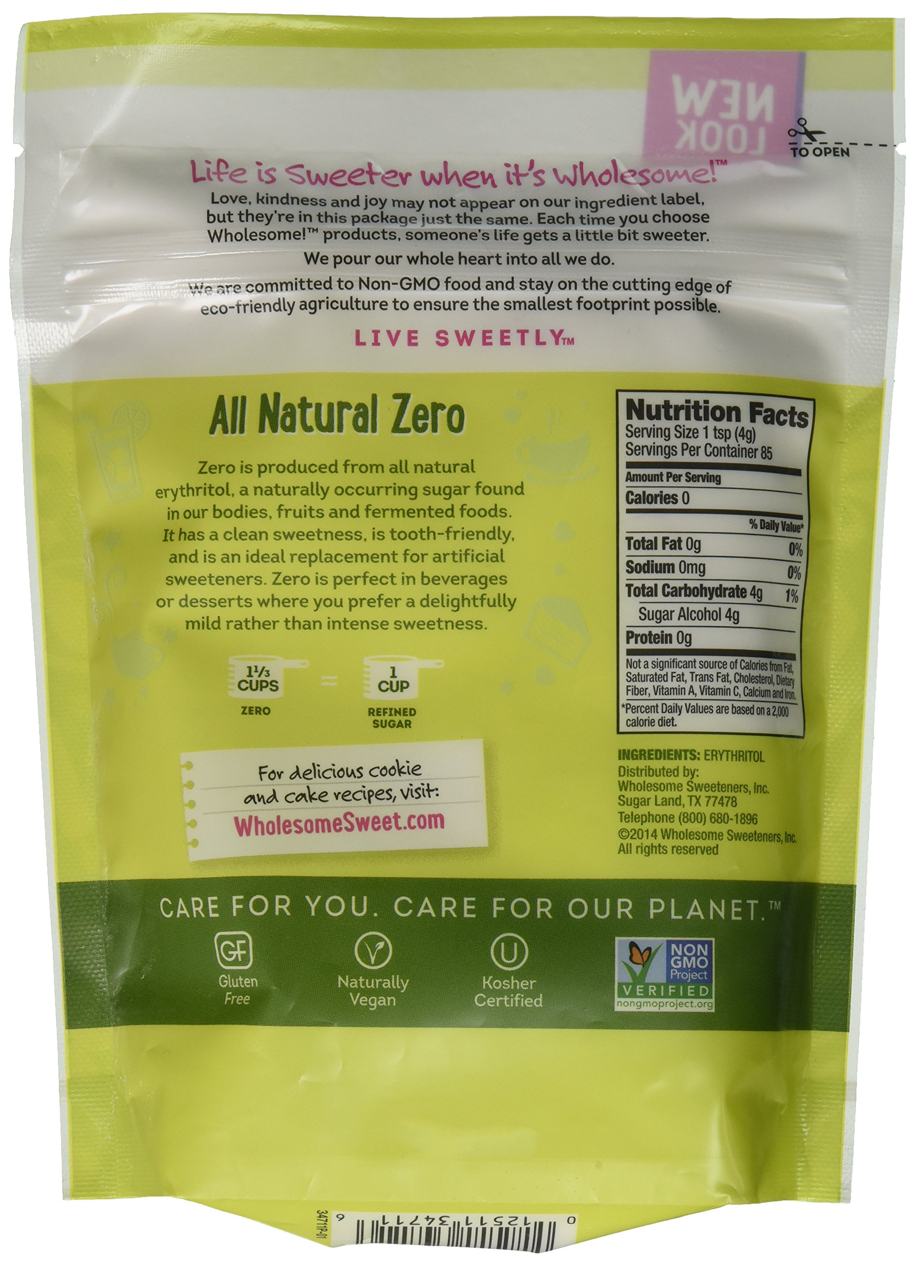 Wholesome Sweeteners Natural Zero Calorie Sweetener Pouch, 12 Ounce -- 8 per case.