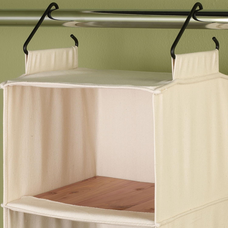amazon com household essentials 3312 1 cotton canvas hanging closet rh amazon com Sweater Rack hanging sweater shelves