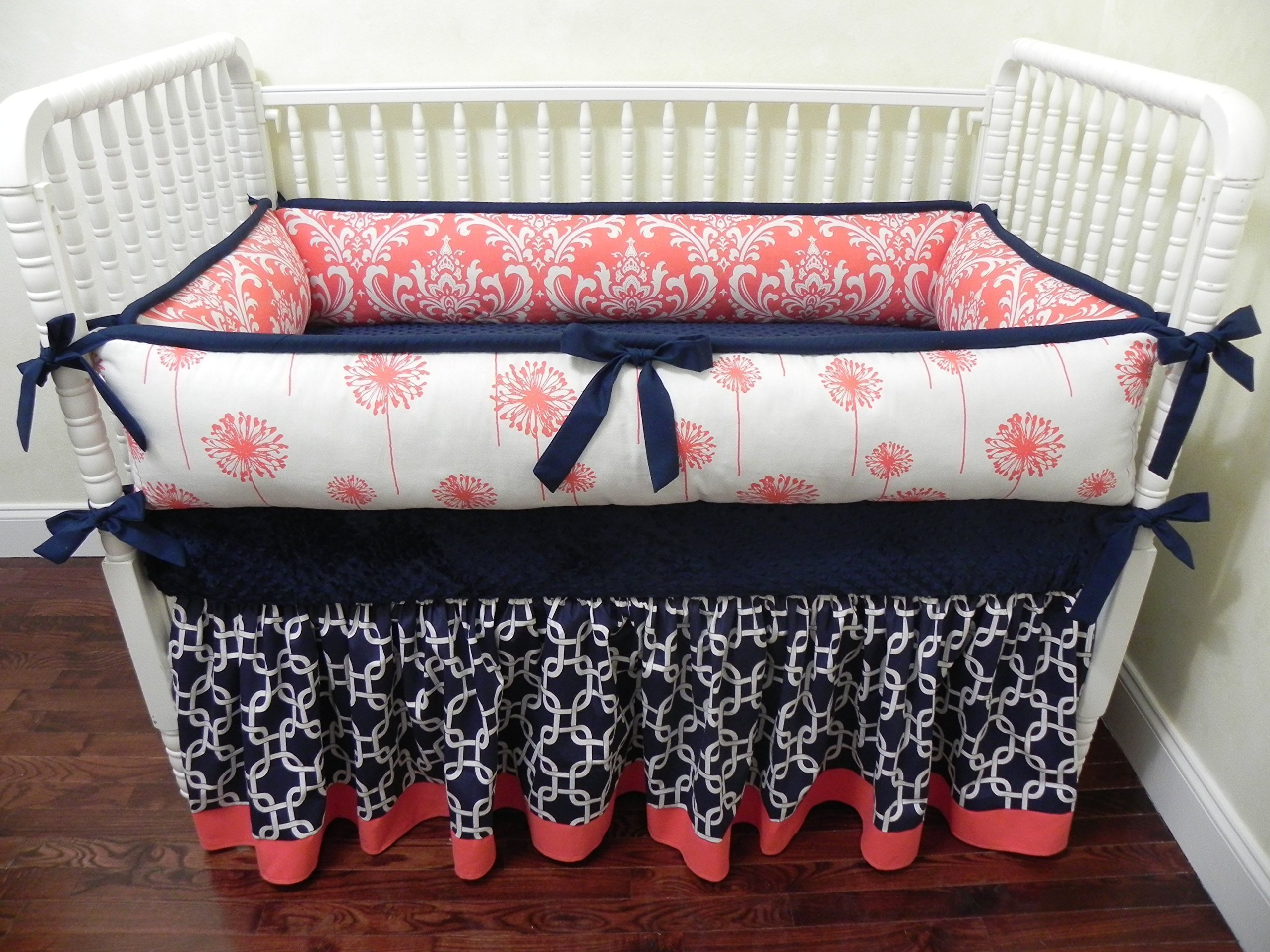 Nursery Bedding, Baby Crib Bedding Set Halle, Girl Baby Bedding, Coral and Navy Baby Bedding - Choose Your Pieces