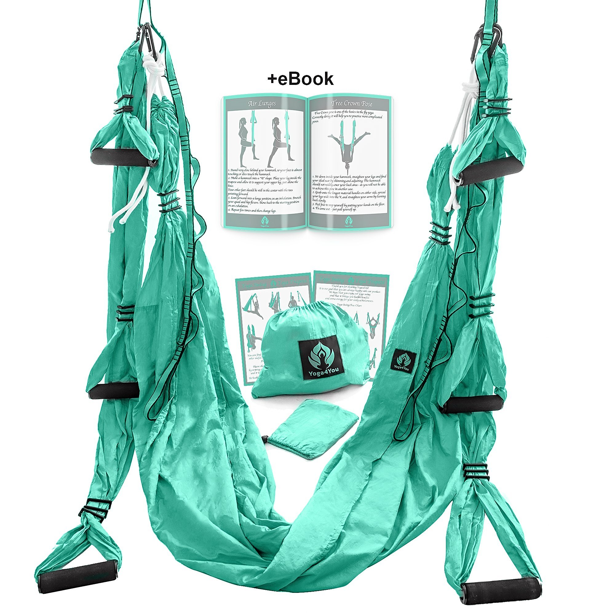 Aerial Yoga Swing Set - Yoga Hammock - Aerial Trapeze Kit + 2 Extension Straps & eBook - Large Flying Yoga Inversion Tool - Anti-Gravity Hanging Yoga Sling - Indoor Outdoor Fly Yoga - Men Women Kids by Yoga4You (Image #6)