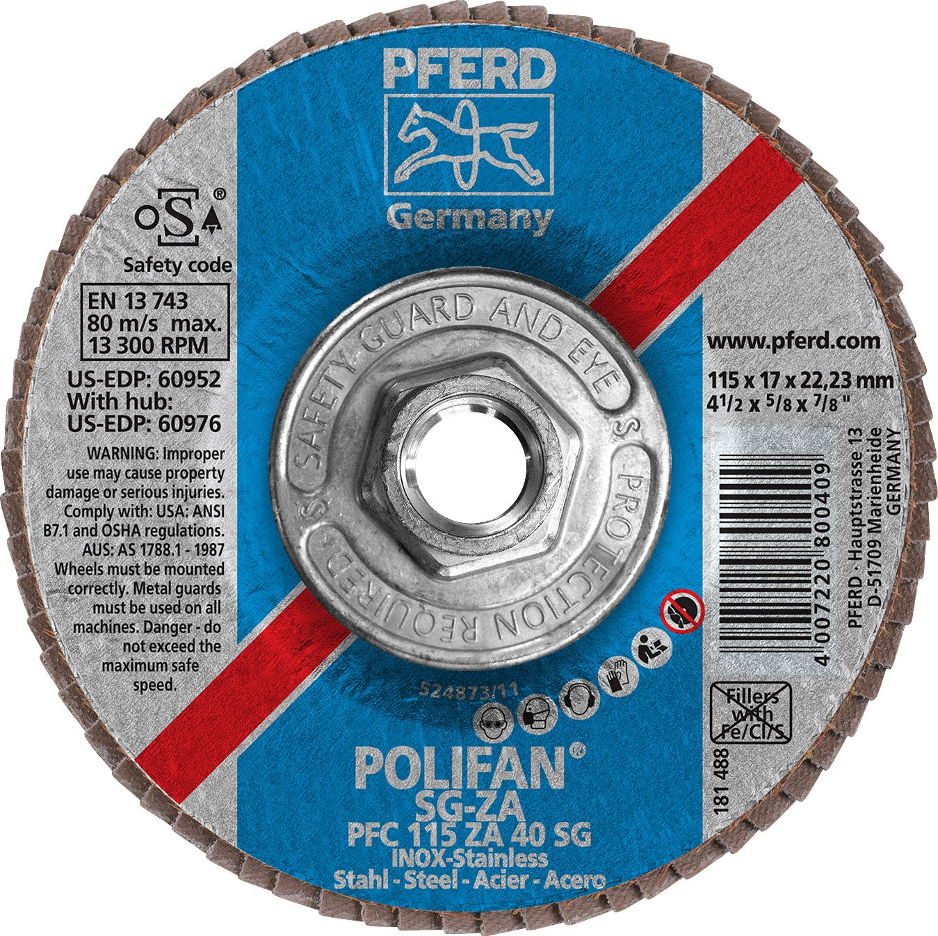 PFERD 60976 Polifan PFC Type 29 Conical Flap Disc, Zirconia Alumina/Aluminum Oxide, 4-1/2'' Diameter, 5/8-11 Thread, 13300 RPM, 40 Grit
