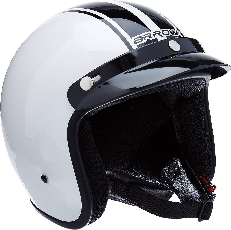 "59-60cm ARMORHELMETS/® AV-47 /""Black White/"" /· Jet-Helm /· Motorrad-Helm Roller-Helm Scooter-Helm Bobber Mofa-Helm Chopper Retro Cruiser Vintage Pilot Biker Helmet /· DOT Schnellverschluss Tasche L"