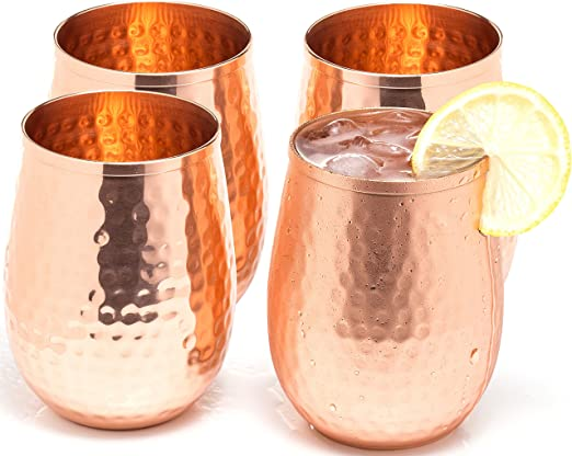A a perfect gift set for men and women Great cups for red or white wine and Moscow mules. Copper wine glasses set of 4 x 19oz gleaming 100/% solid hammered copper stemless wine tumbler