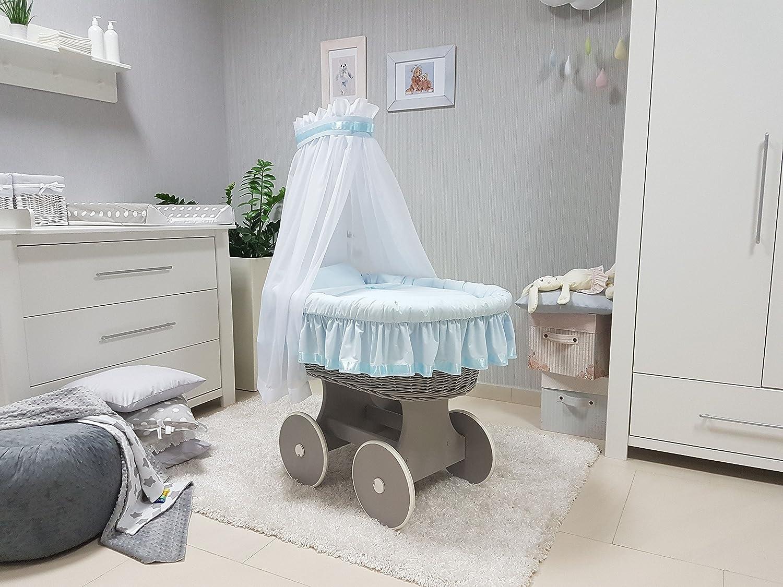 Babymajawelt® Stubenwagen Komplett Set 10 Teile, inkl. Matratze, Matratze, Matratze, Bollerwagen mit großen Räder (gummiert) ver. DESIGNS (Sterntaler weiss) 2996d3