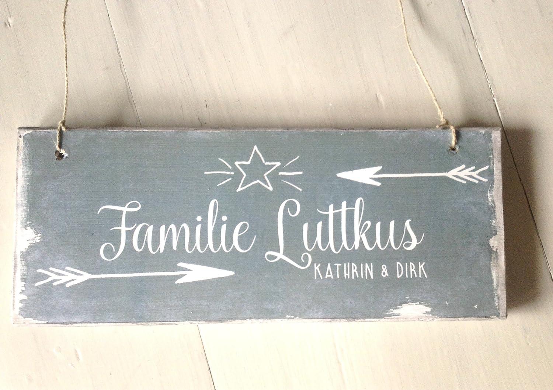 Türschild mit Namen / Personalisiertes Tür-Schild I Holz-Schild mit Familien-Namen I Namens-Schild aus holz IGeschenk I Eingangsschild I