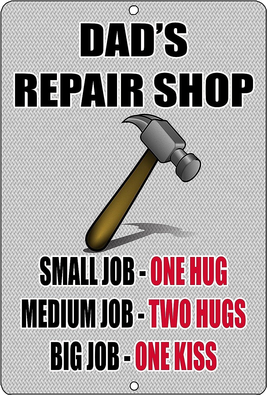 Rogue River Tactical Funny Dad Repair Shop Metal Tin Sign Wall Decor Garage Man Cave