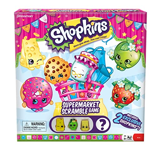 Shopkins Supermarket Scramble Game With 4 Exclusive Collectible Shopkins Characters Found Only In Our Games