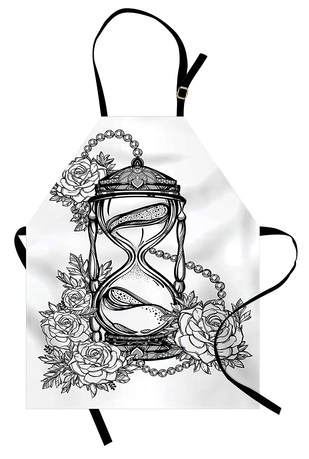 Ambesonne tattoo apron pencil drawing romantic theme hourglass symbol of eternal love with roses print unisex kitchen bib apron with adjustable neck for