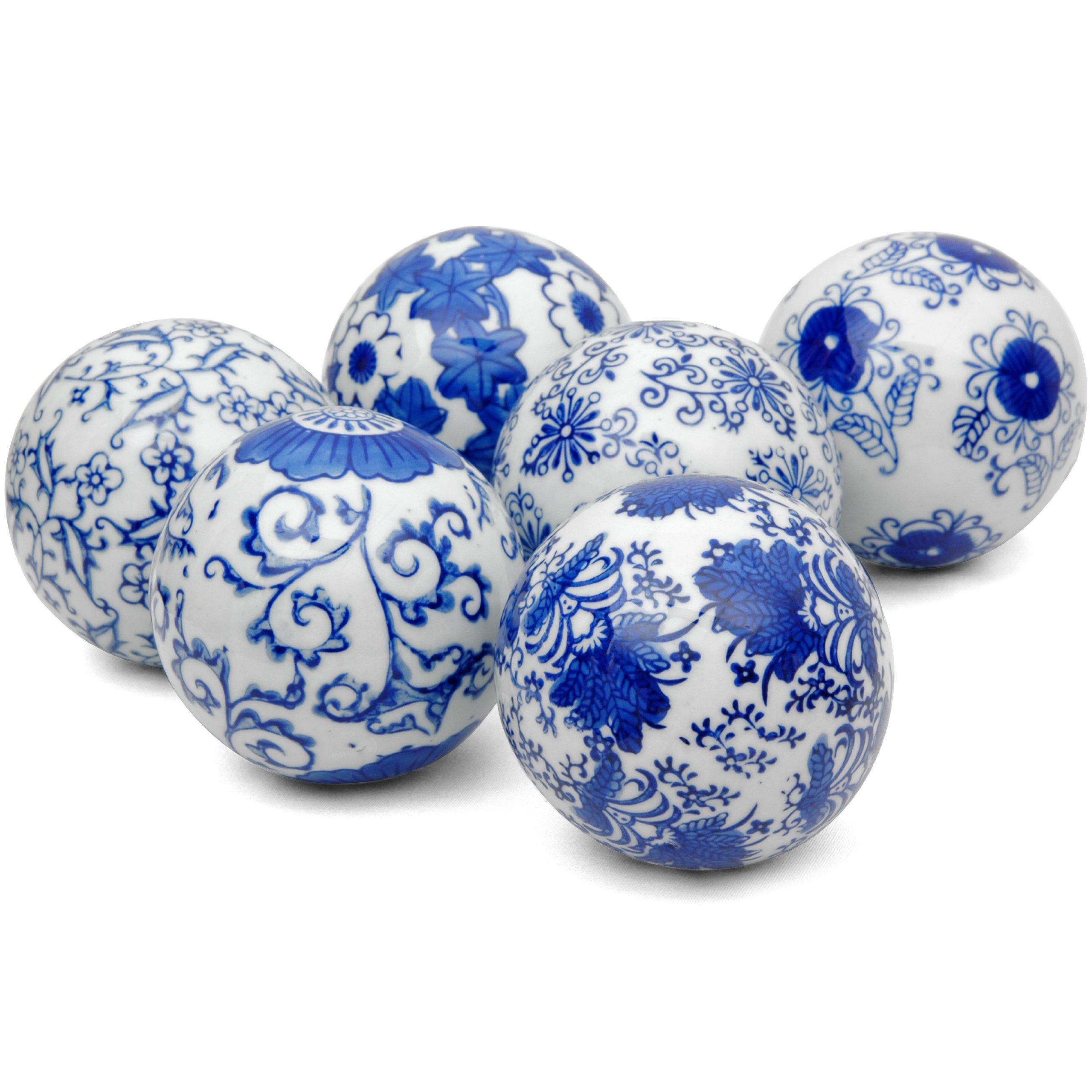 Oriental Furniture 3'' Blue & White Decorative Porcelain Ball Set(B) by ORIENTAL Furniture