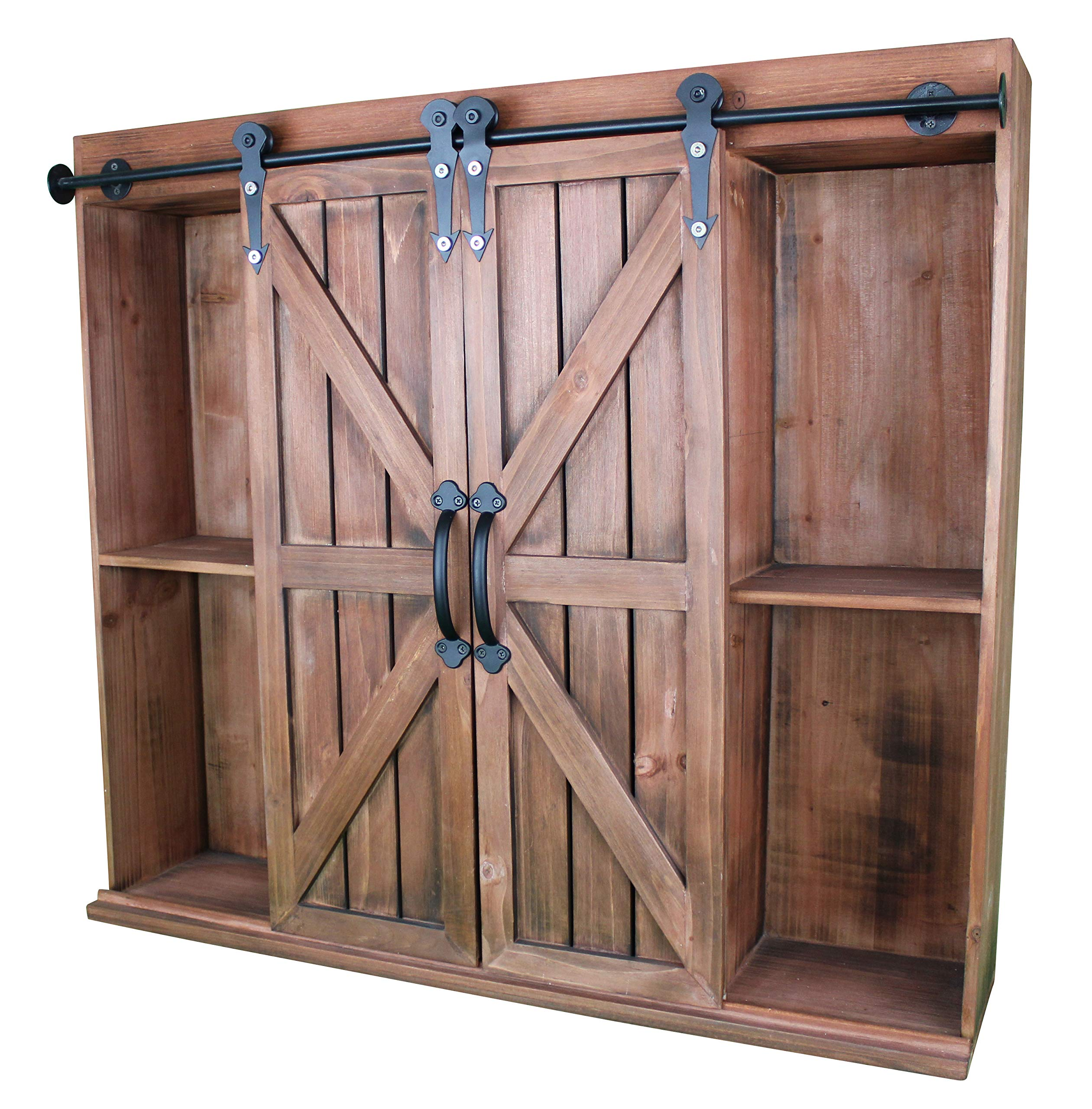 Wooden Wall Mount Decorative Rustic Farmhouse Storage Cabinet & Bookshelf with Sliding Barn Doors – Vintage Cherry