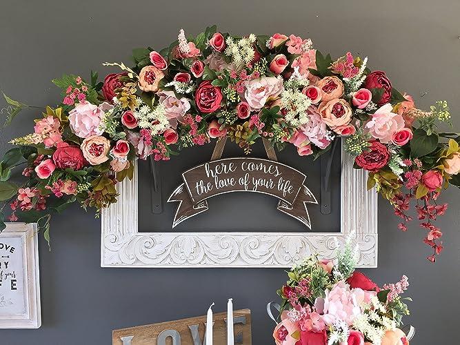 Amazon.com: Wedding Ceremony Arch Decoration, Blush and Deep Rose ...