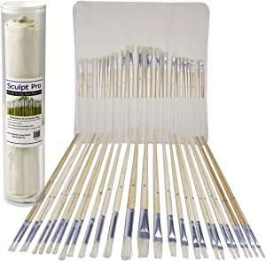 Artist Paint Brush Set - 28 Pcs - Extra Long Handle Paintbrushes w Roll-Up Canvas Bag for Oil, Acrylic, Watercolor - Flat and Round Bristles for Every Painting Style - Great Gift
