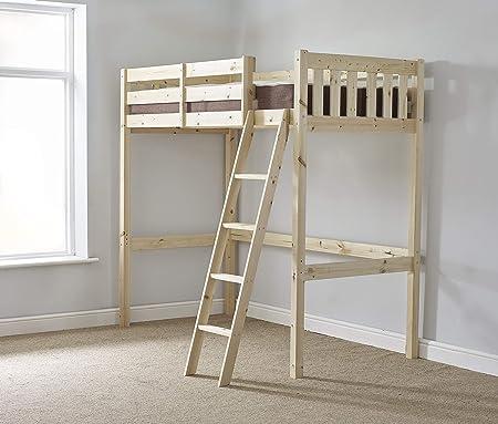 Loft litera – 91,44 cm Solo Madera Alta Sleeper Bunkbed – Escalera Puede IR a Izquierda o Derecha – Puede ser Utilizado por Adultos – Incluye 20 cm Grueso Acolchado de muelles colchón: Amazon.es: Hogar