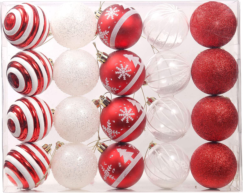 3-11 cm Tradizionali Ornamenti di Palle di Natale Infrangibili Rossi e Bianchi per la Decorazione DellAlbero di Natale Valery Madelyn Palle di Natale 70 Pezzi di Addobbi Natalizi per Albero